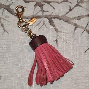 Coach puffy tassel Pink/ Brown key chain charm